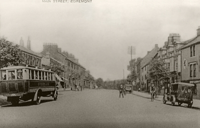 Egremont Main Street with charabanc, motor car and bicycle